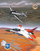 GD F-16 Flying Falcon & NAA T-6 Texan by Mike Machat-960